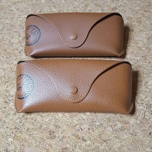 2 Ray Ban Brown Tan Sunglass Leather Cases